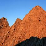 夕暮れの槍ヶ岳と大キレット